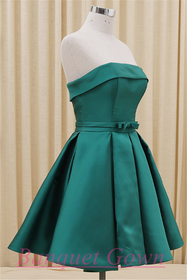 2016 Simple Hunter Green Homecoming Dress Bowknot Short Prom Gowns ...