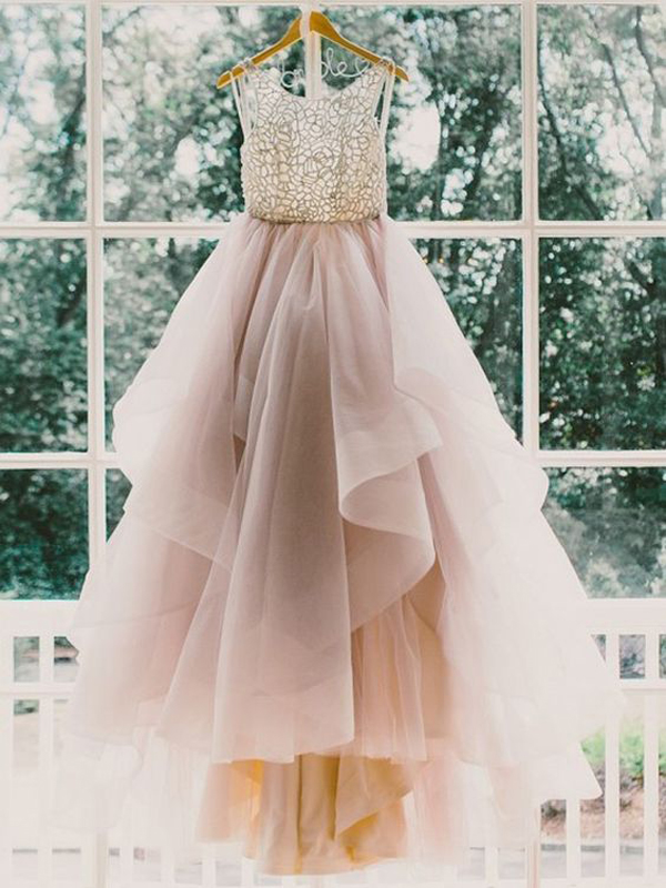 Long prom dress fluffy prom dress custom prom dress for Short fluffy wedding dresses