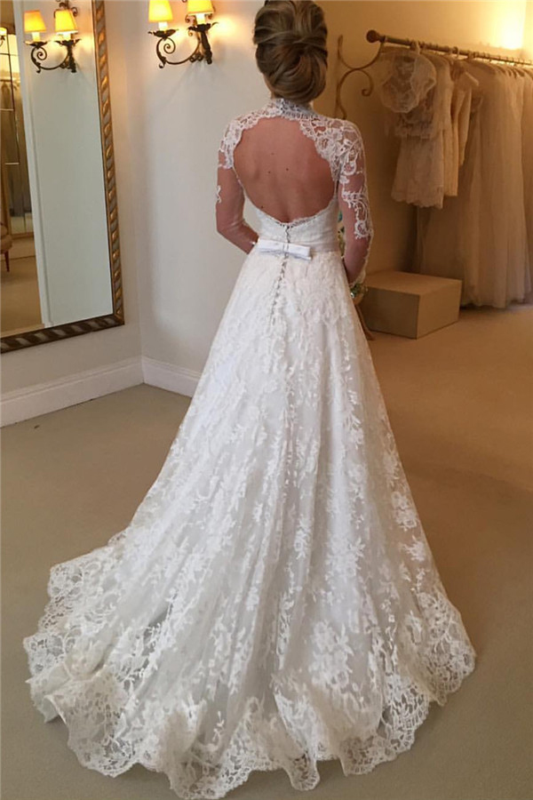 2017 high neck wedding dress lace wedding dressopen back