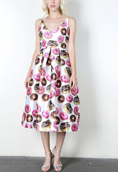 The Soubrette Brunette Donut Print Midi Dress Online Store Powered By Storenvy