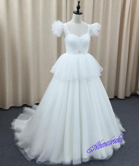 Lovely wedding dress, lace up back wedding dress, long wedding dress ...