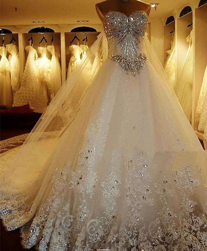 Luxury Beaded Wedding Dresses with Back Slip Chic Long Train Bridal ...