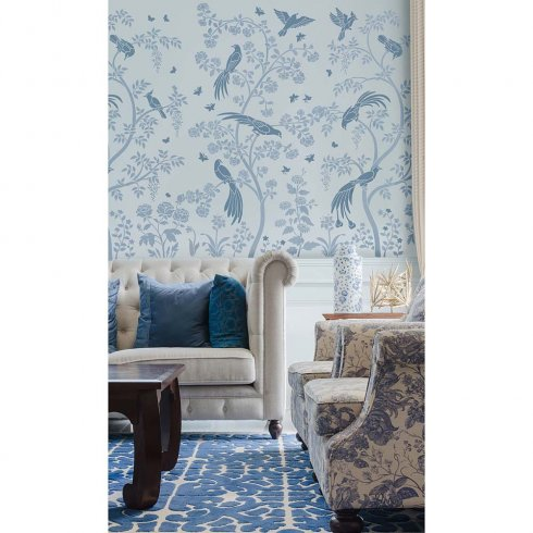 Birds and berries chinoiserie wall mural stencil better for Chinoiserie mural wallpaper