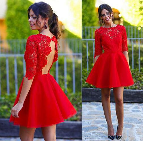 Long sleeve red homecoming dress, lace homecoming dress, short prom ...
