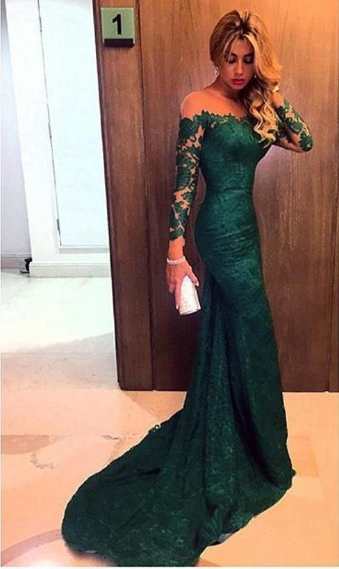 2016 Dark Green Evening Gowns Long Sleeves Off the Shoulder Lace ...
