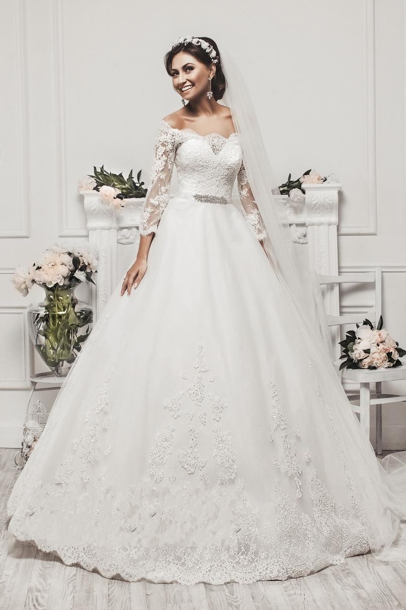 New Elegant Long Sleeve Appliques Lace Ball Gown Princess Wedding ...