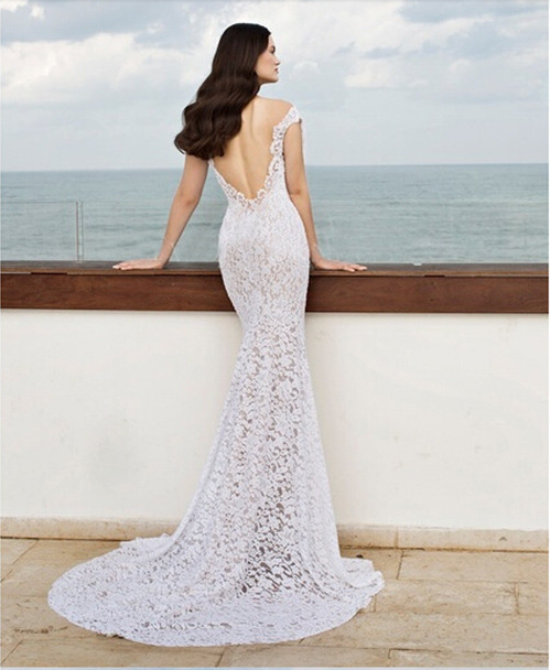 Romantic Lace Off The Shoulder Wedding Dress Homecoming Open Back - Romantic Lace Wedding Dress