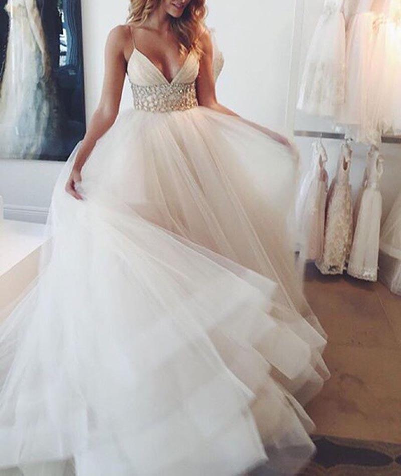 Sweetheart Girl   Custom made v neck tulle sequin white long prom ...