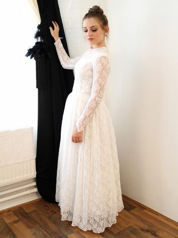Vintage A-Line wedding dress,Lace Elegant wedding dress,Simple White ...