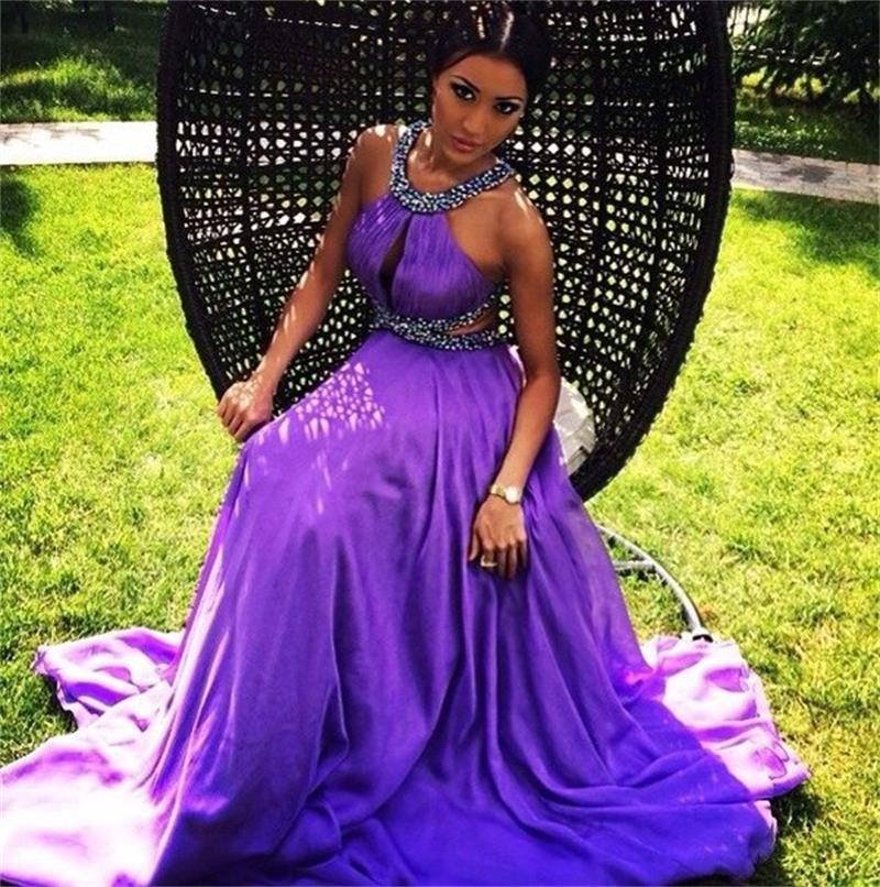 Purple Prom Dress, Backless Prom Dress,Halter Neck Backless Sexy ...