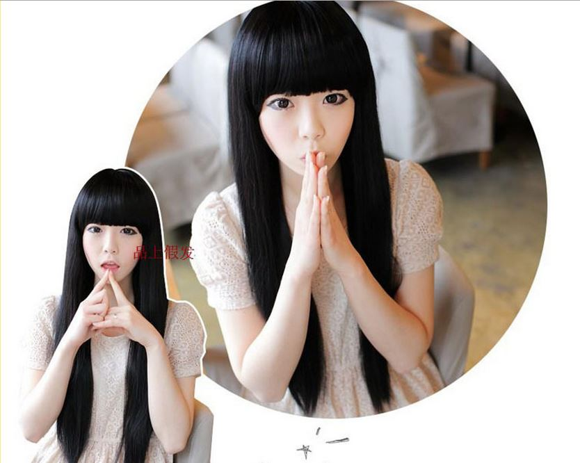 Cute korean long straight full lace front synthetic hair wig cute korean long straight full lace front synthetic hair wig thumbnail 4 voltagebd Image collections