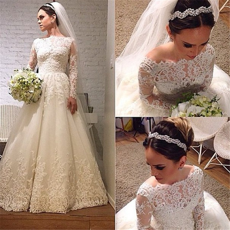Long Sleeve Wedding Dress, Lace A Line Wedding Dress,Elegant Lace ...