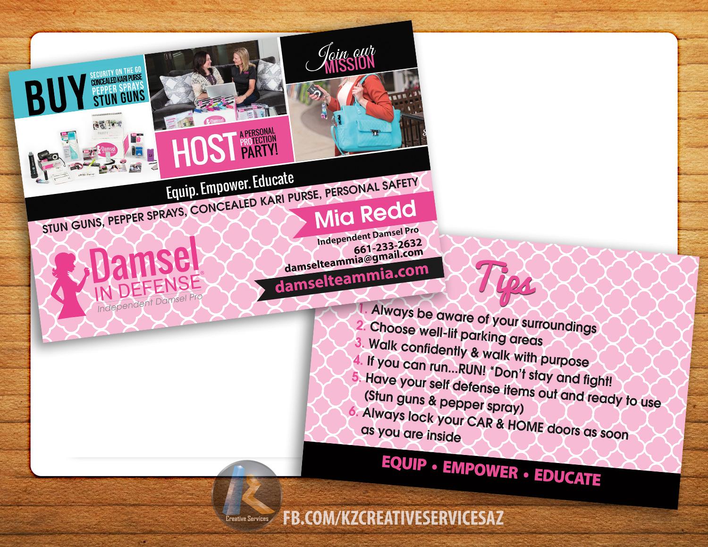 Damsel in defense 4quotx6quot blitz cards kz creative for Damsel in defense business cards