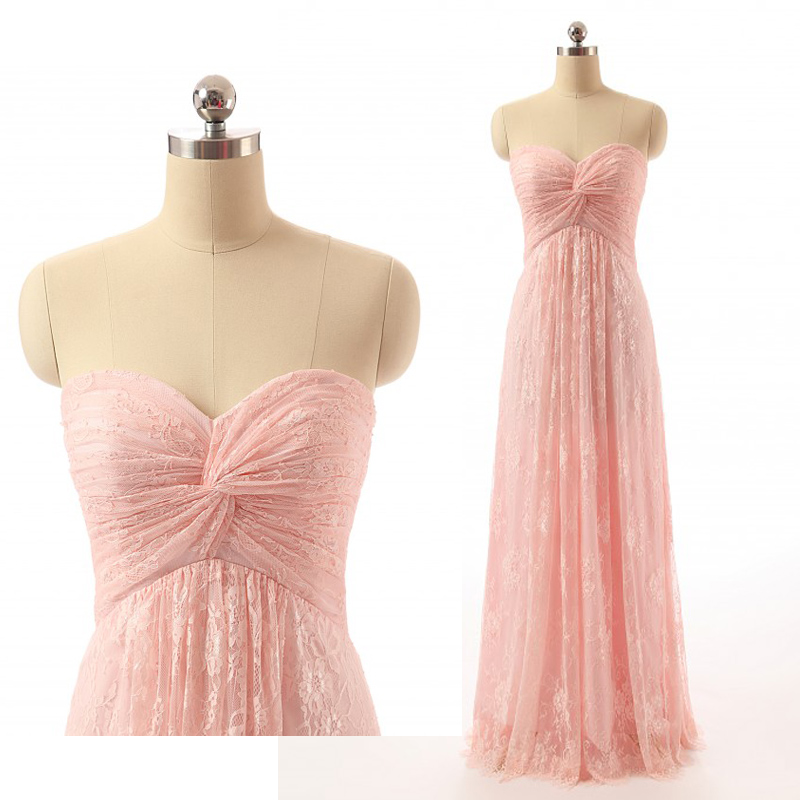 Real Sample Blush Floral Lace Sweetheart Strapless Long Prom Dress ...