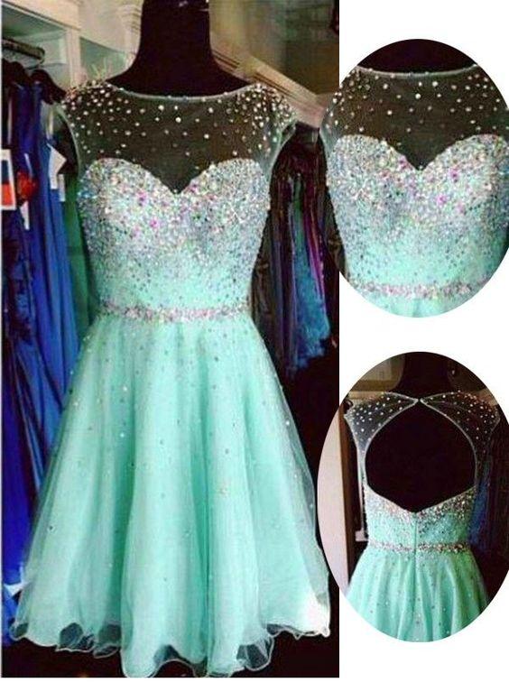Cute Short Tulle Homecoming Dresses, mint green Short Prom Dress ...