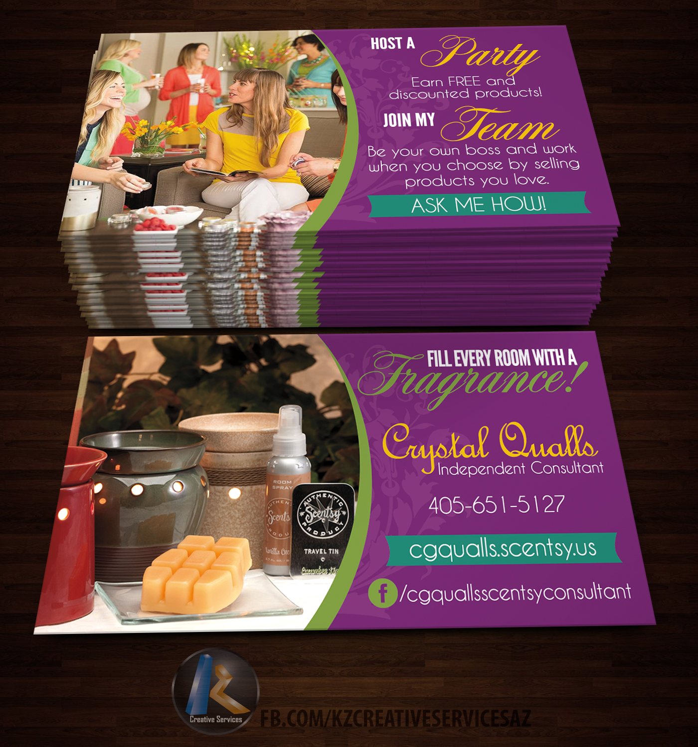 Scentsy Business Cards style 2 · KZ Creative Services · line