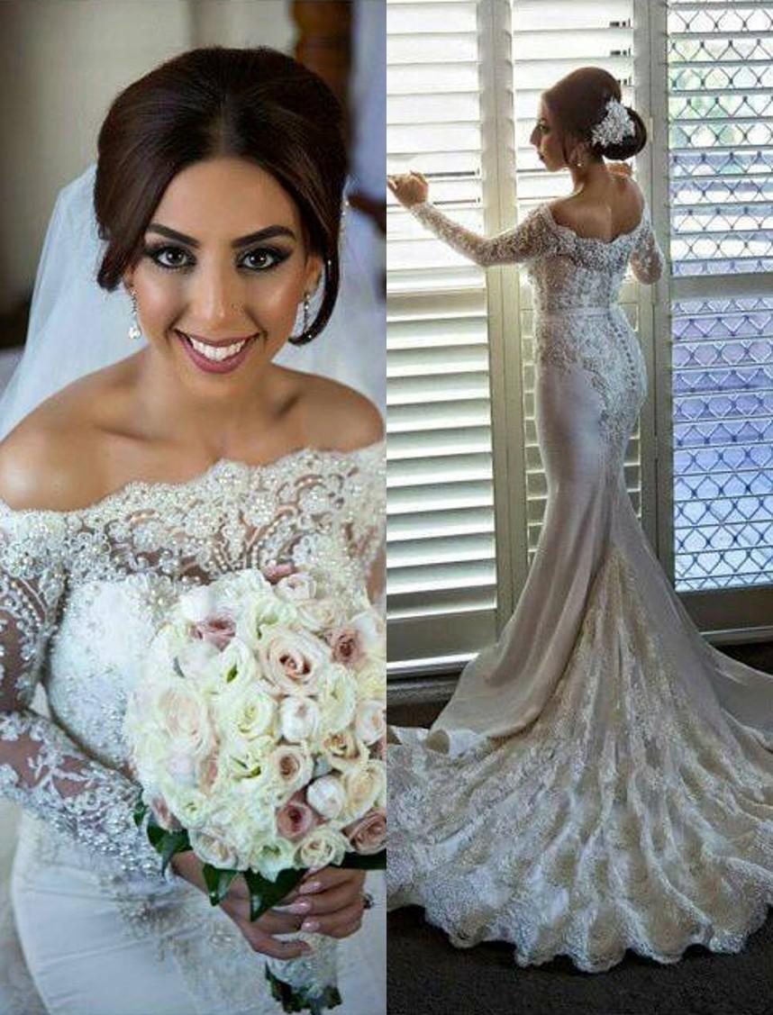 Romantic wedding dress,Mermaid Wedding Dress,Off the Shoulder ...