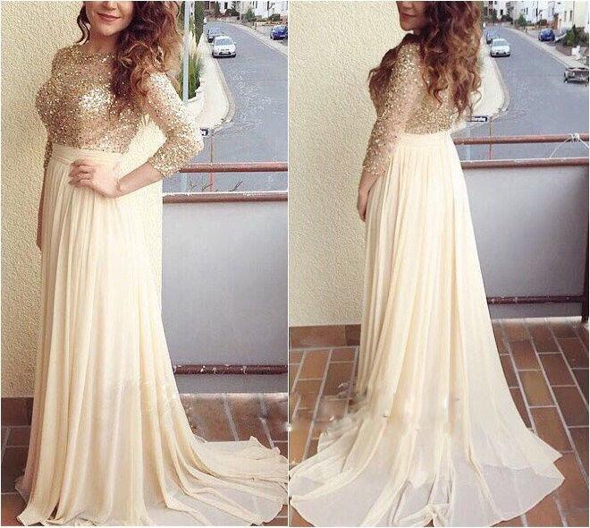 Charming Prom Dress,Long Sleeve Prom Dress,Beading Prom Dress,Long ...