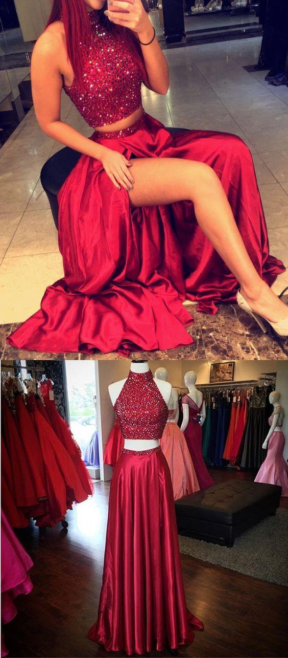 dark red/burgundy long two pieces homecoming dress/evening dress ...