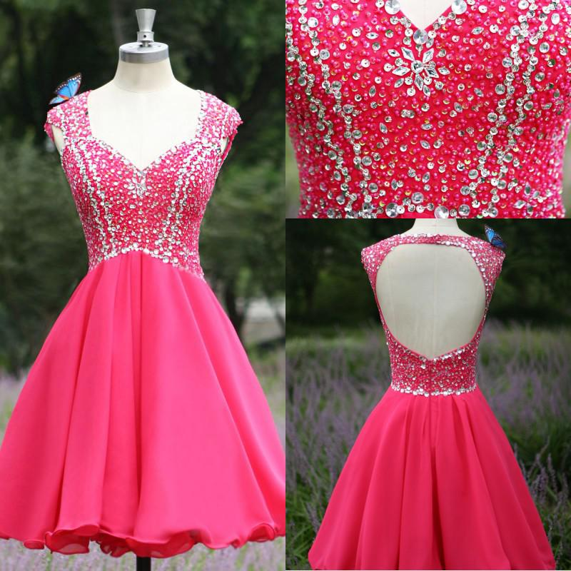 New Arrival Hot Pink Cap Sleeves Backless Homecoming dresses ...