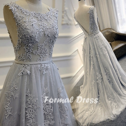 Formal dress gray prom dress a line lace long evening for Gray lace wedding dress