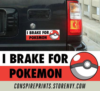 I brake for pokemon bumper sticker 10 x 3