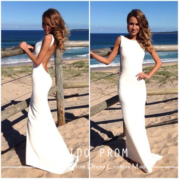 Sheath Ivory Jersey Sweep Train Backless Beach Wedding Dresses ...