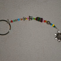 Beaded Keychain Multicolor/Silver w/Charm