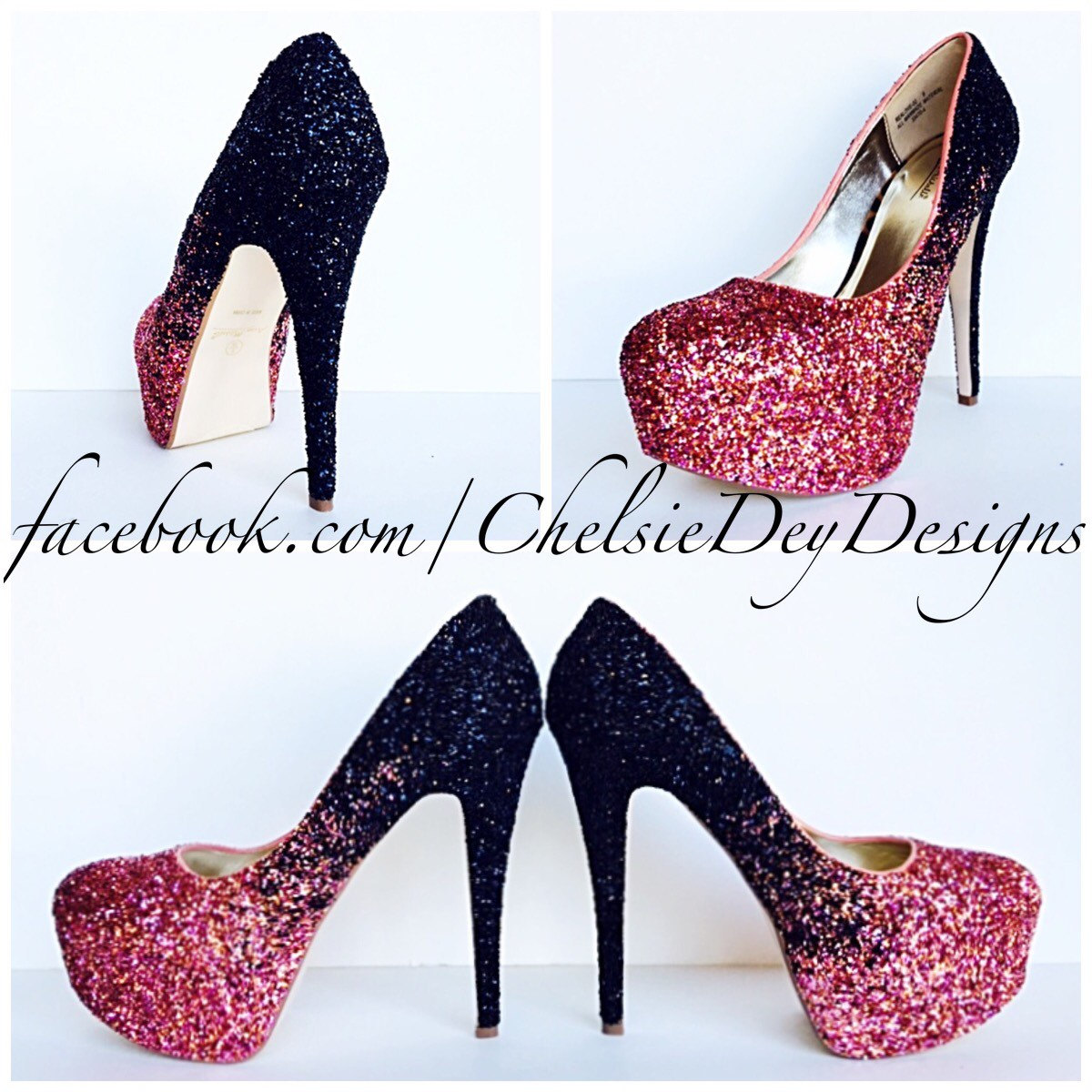 Glitter High Heels - Coral and Black Pumps - Ombre Platform Shoes ...