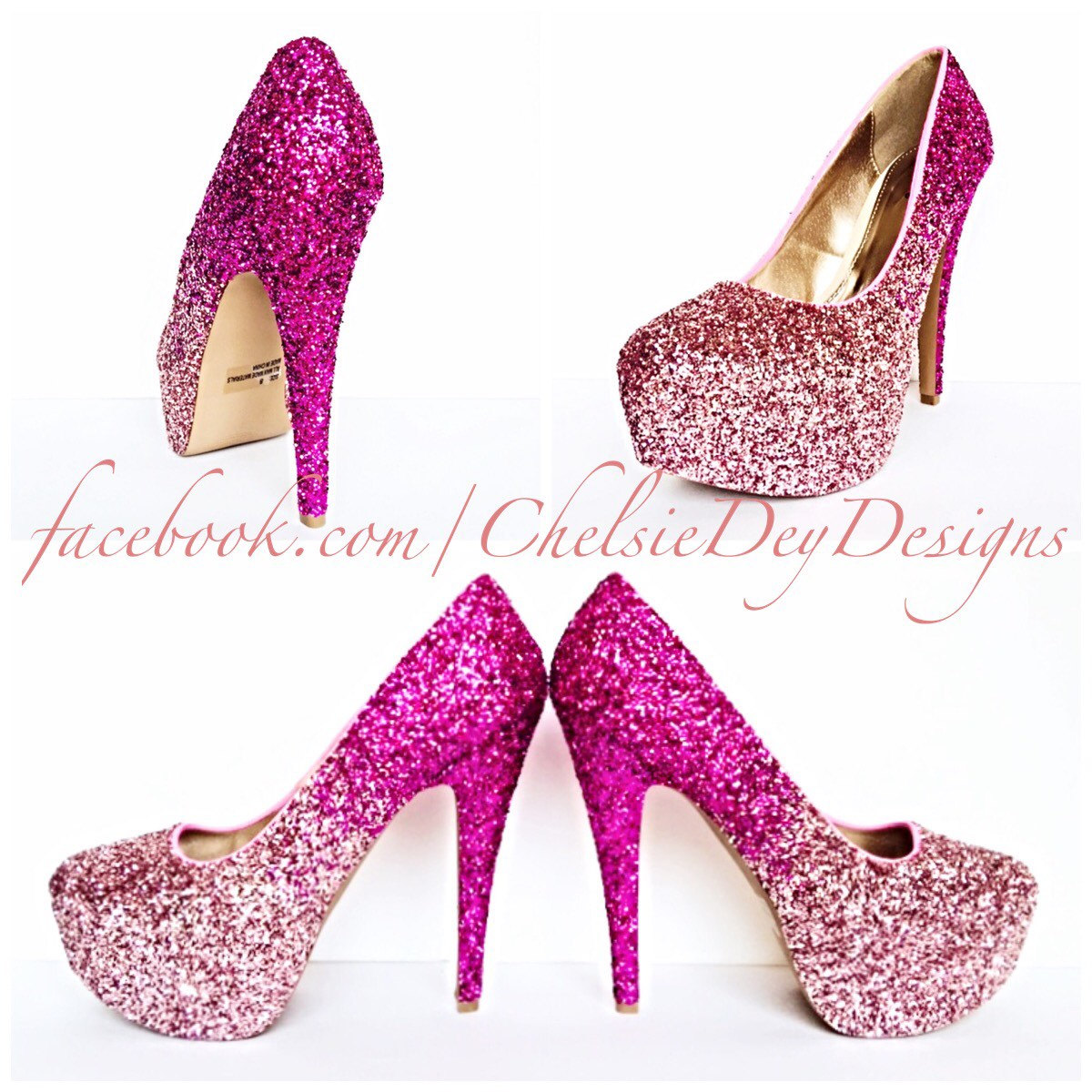 Glitter High Heels - Hot Pink Pumps - Light Pink Ombre Platform ...