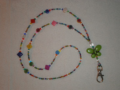 Beaded lanyard multicolor/butterfly