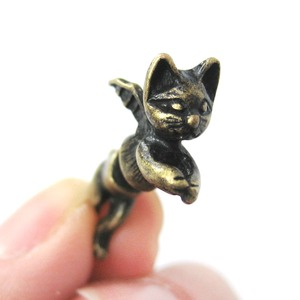 Kitty Cat Burglar Animal Fake Gauge Stud Earrings in Bronze