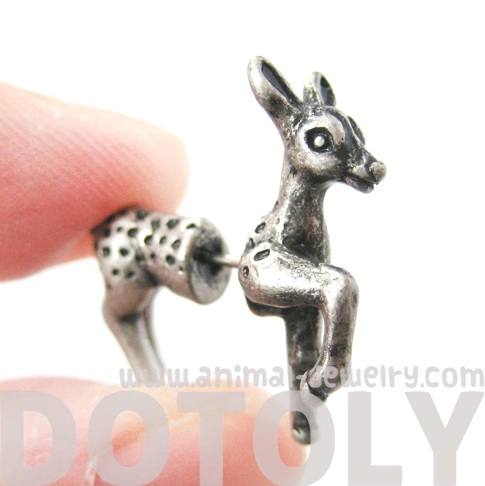 Animal Bambi Deer Fake Gauge Stud Earrings In Silver  Thumbnail 2