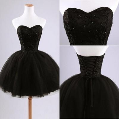 Short Homecoming Dress Black Prom Dress Lace Up Prom Dress Sweet