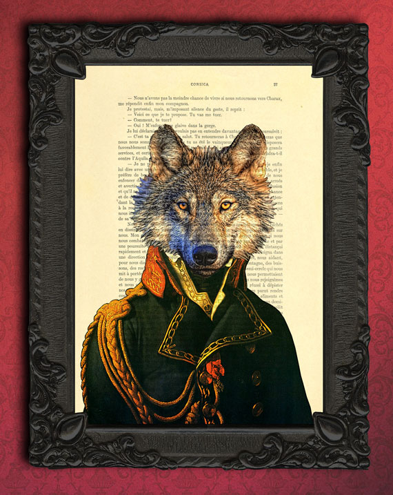 wolf art print, gentleman wolf wall art, dictionary page ...