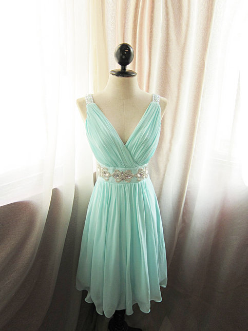 Short V Neck Seafoam Blue Prom Dress/Homecoming Dress/Bridesmaid ...