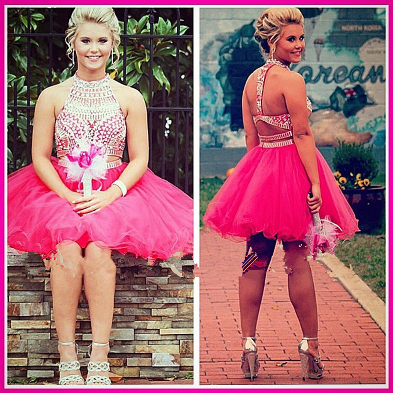 Homecoming Dress,2 Piece Homecoming Dresses,Silver Beading ...