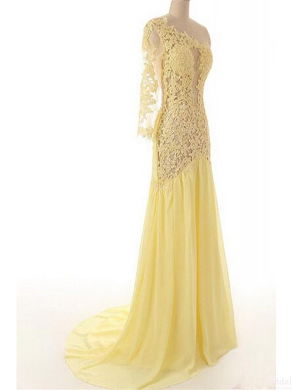 One shoulder prom dresses, lace prom dresses, mermaid prom dresses ...