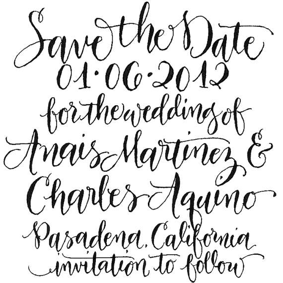 Save the date custom handwritten calligraphy stamp