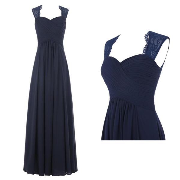 Navy blue bridesmaid dress, chiffon long bridesmaid dress, cheap ...
