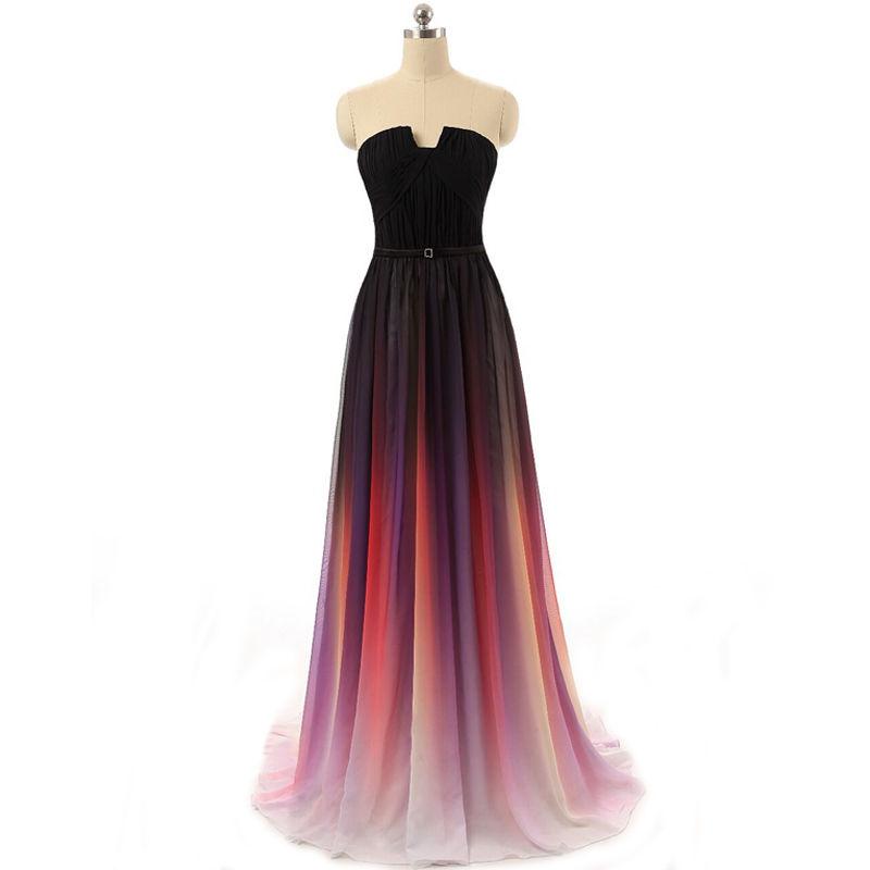 Gradient prom dresses, simple long prom dresses, unique prom dresses ...