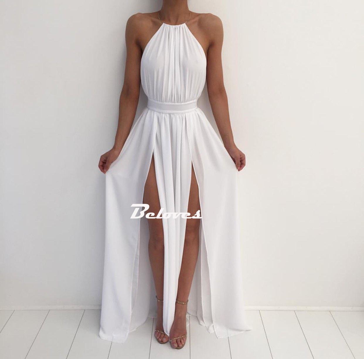 White Halter Chiffon Backless Maxi Prom Dress With High Slit ...