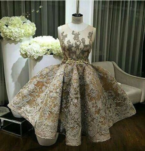 Custom made ball gown lace short prom dress cute for Lace wedding dress instagram