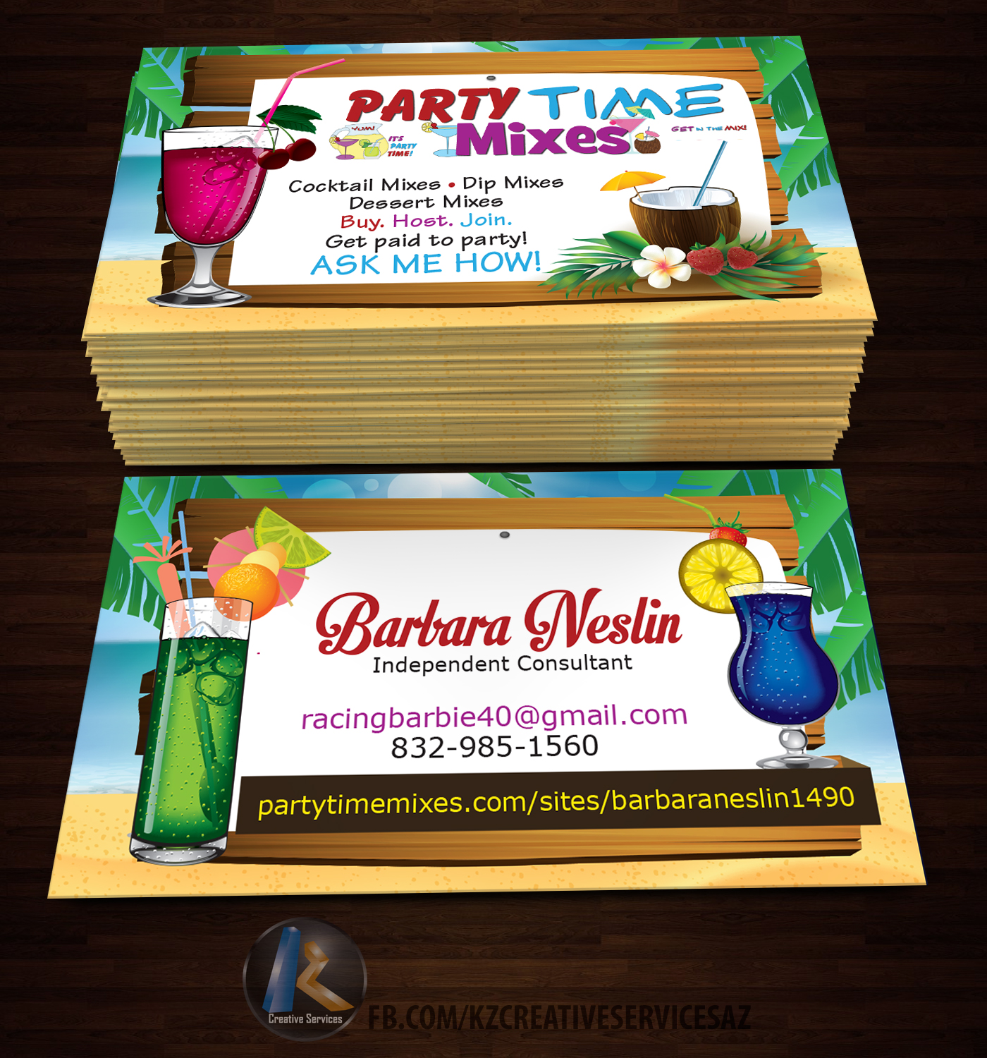 Party Time Mixes Business Cards style 1 · KZ Creative Services
