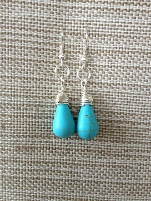 Wire Wrapped Turquoise Tear Drops