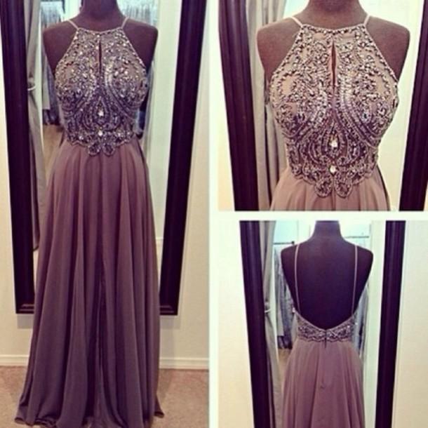 Long Custom Prom Dress,gray Prom Dress,backless Prom Dress ...