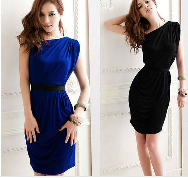 one shoulder casual sexy women party mini dress with belt