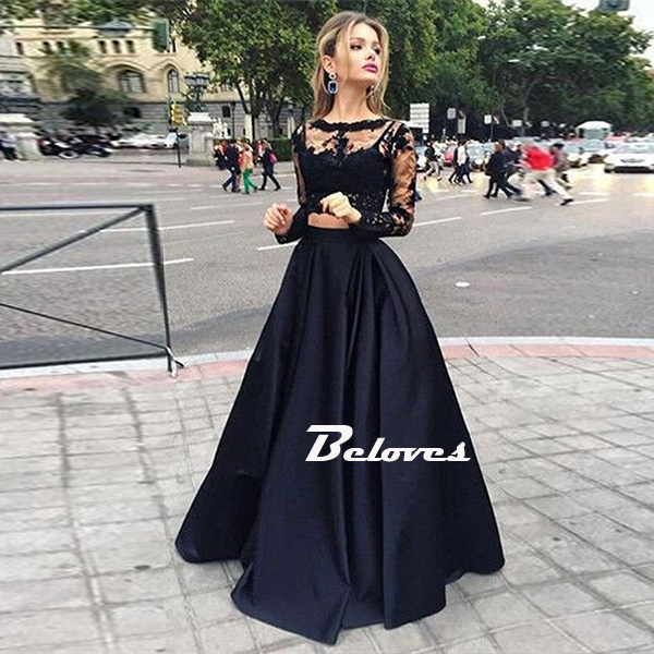 Black Long Sleeve Sheer Back Two Piece Prom Dress With Lace