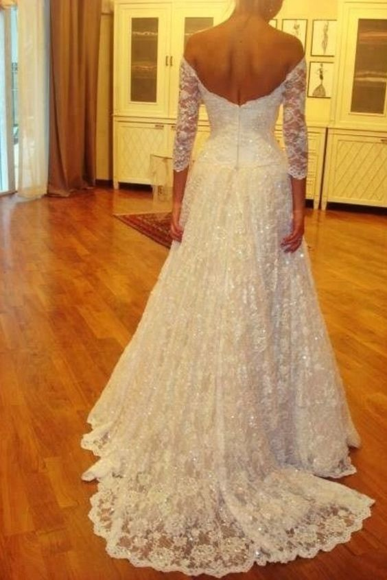High Quality Wedding Dresslace Wedding Dresshalf Sleeves Wedding