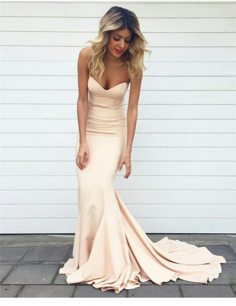 Simple Champagne Prom Dress 2017 Prom Dress Long Prom Dress Cheap